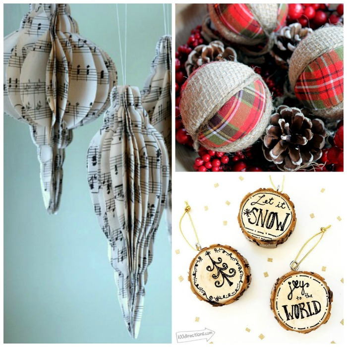 Make these country Christmas ornaments for your tree! Perfect for rustic farmhouse Christmas decor!