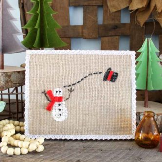 Winter Snowman Art with Burlap