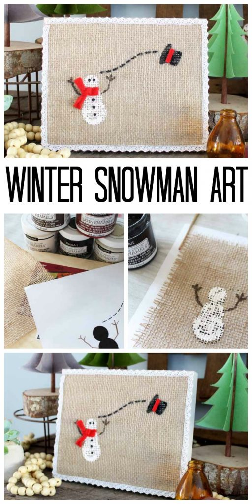 step by step photos showing how to paint a snowman on burlap attached to a wooden panel with text overlay