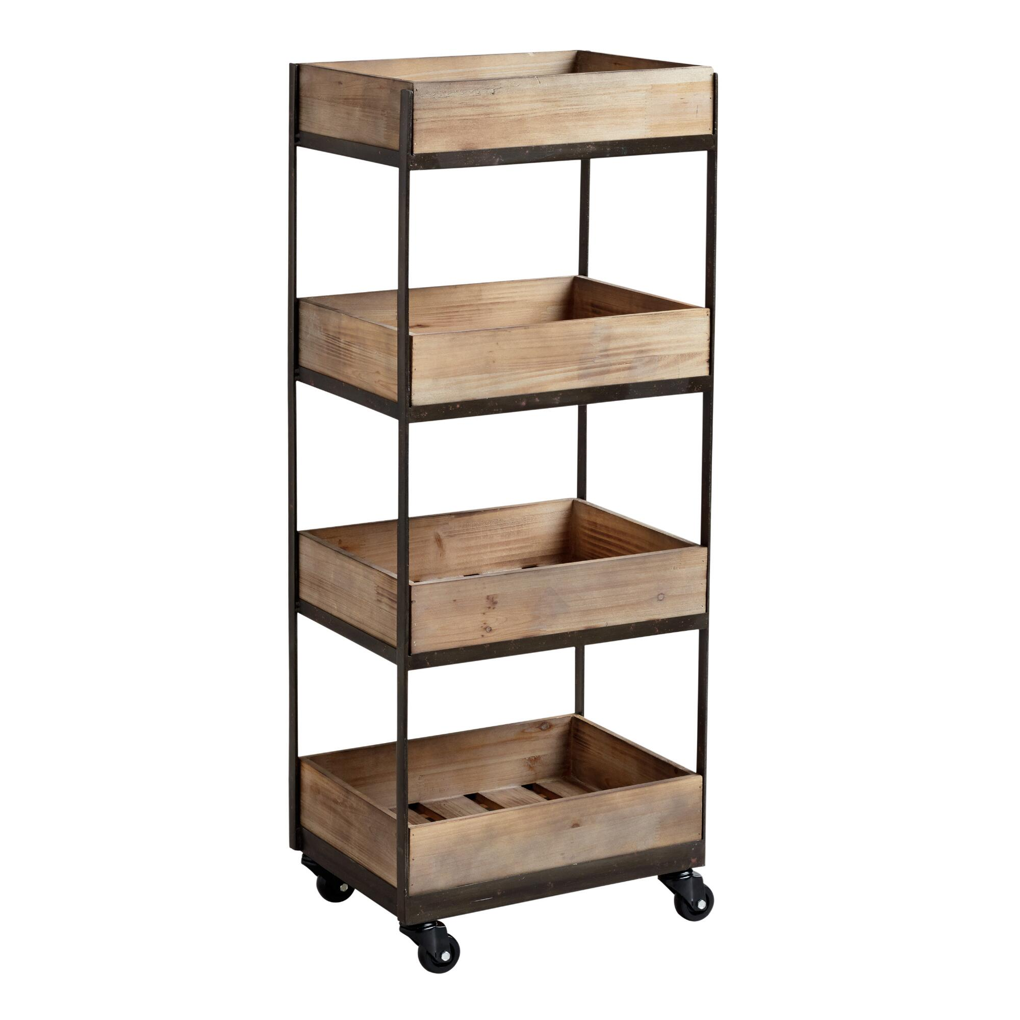 metal and wood rolling cart