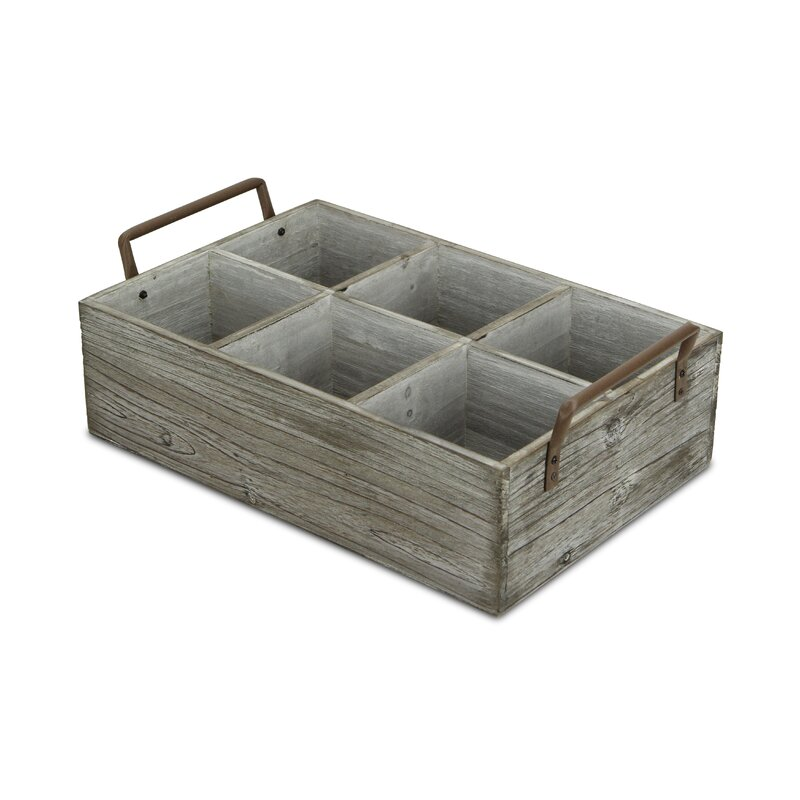 wood and metal compartment tray