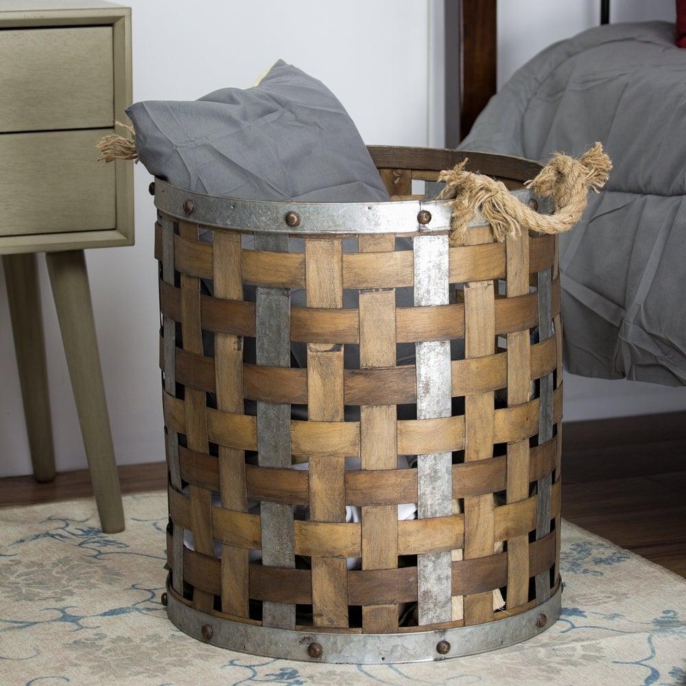 metal and wood basket