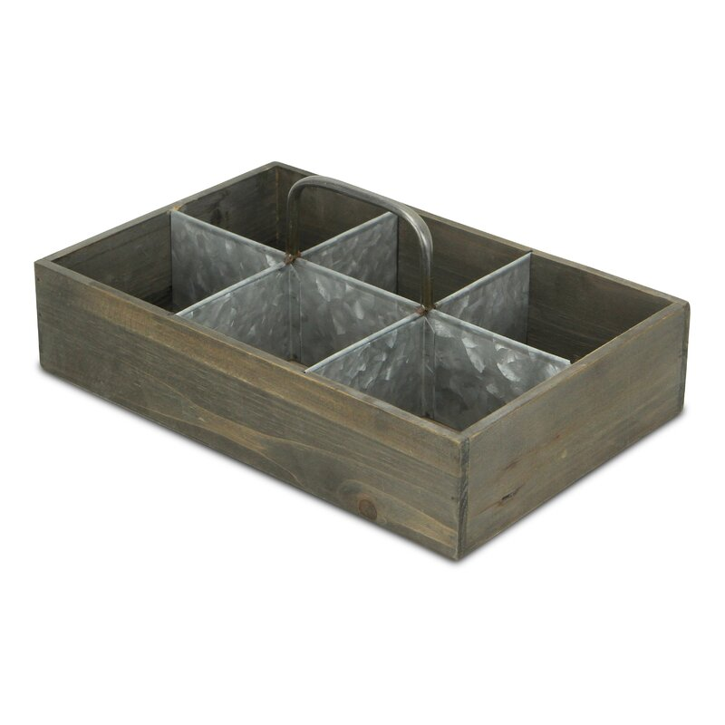 wood crate with metal divider
