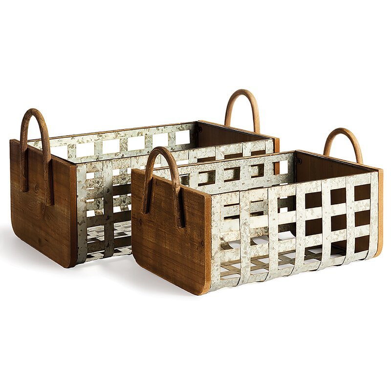 metal and wood storage containers