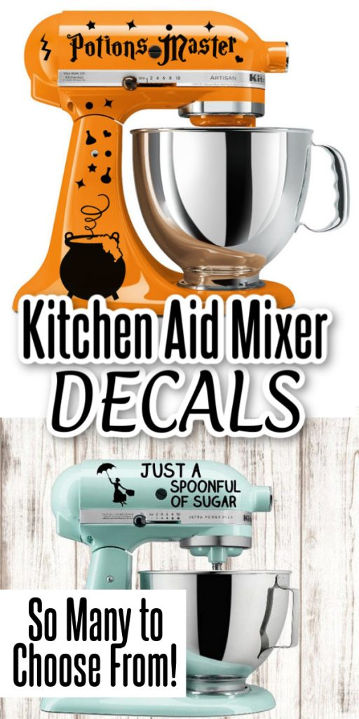 These decals are a great way to show off your personality in the kitchen! Add these stickers to your Kitchen Aid Mixer for a little fun! #kitchen #vinyl #decals
