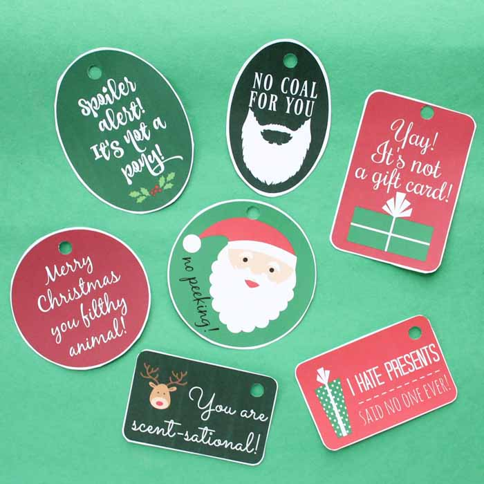 gift tags printed on paper