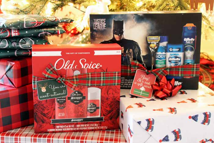 old spice gifts under a tree