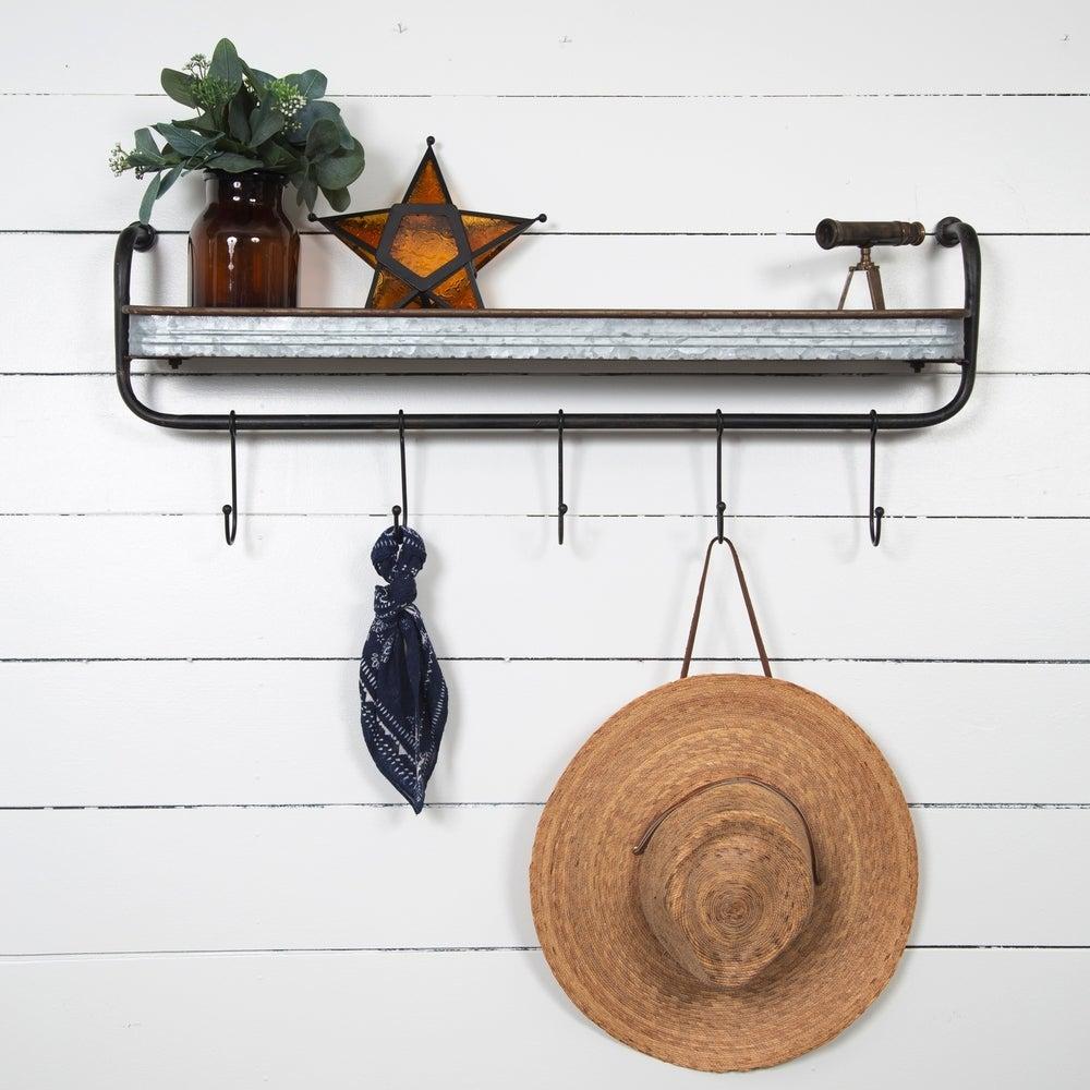 metal shelf with hooks
