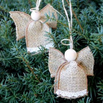 Angel Ornaments Made From Burlap