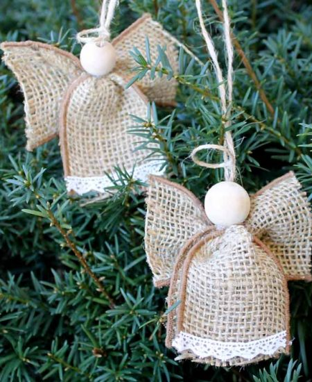 burlap ornaments hanging on a tree