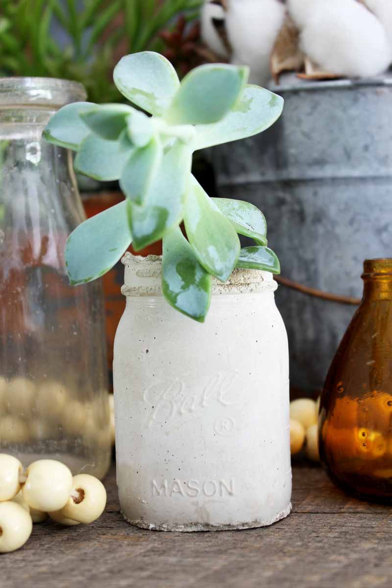 Make this mason jar planter from concrete for your home decor! Make your own mold and then pour in a concrete mix!