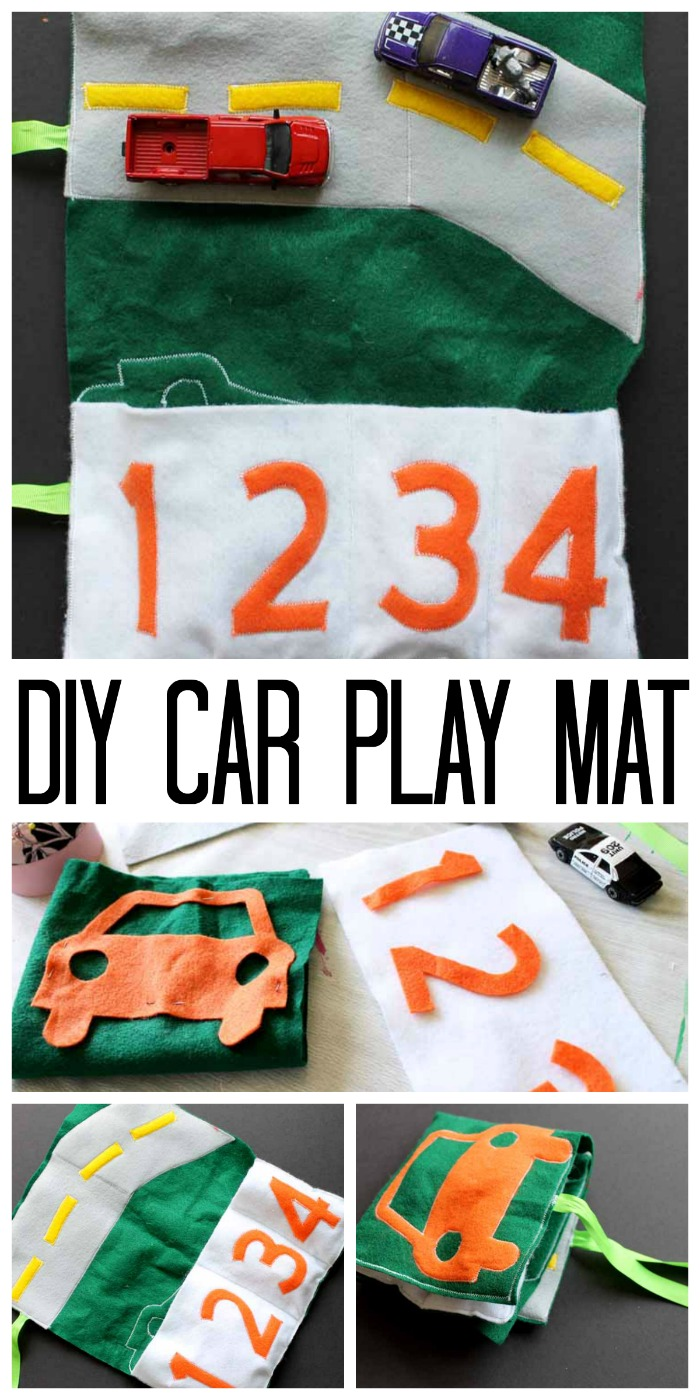 Make this car play mat as a great DIY gift idea for the kids! They can take and play with their cars anywhere!