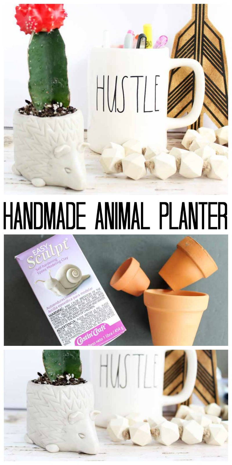Make these DIY flower pots for your home in a cute animal shape! Easy to make to look like a hedgehog or any other animal!
