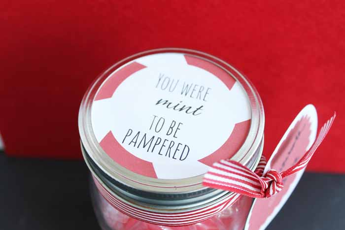 peppermint gift in a jar topper