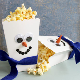 Preschool Snowman Craft:  Popcorn Boxes