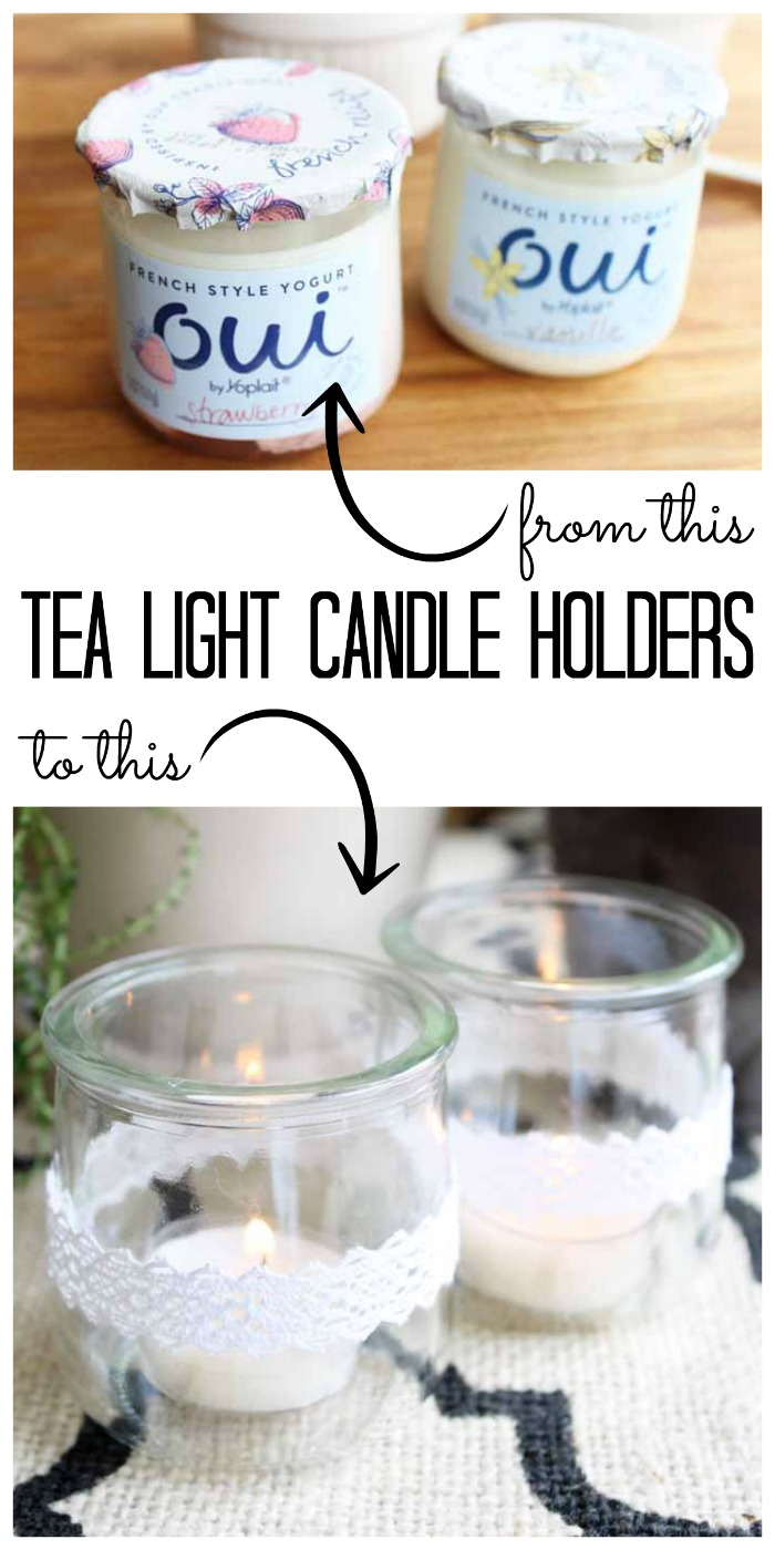 Make these tea light candle holders from recycled glass jars! A cute way to use those Oui yogurt containers!