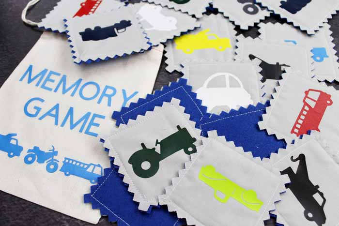 memory game with trucks and cars