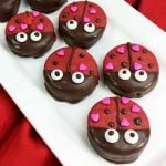 Valentine Cookies:  Lady Bug Covered Oreos