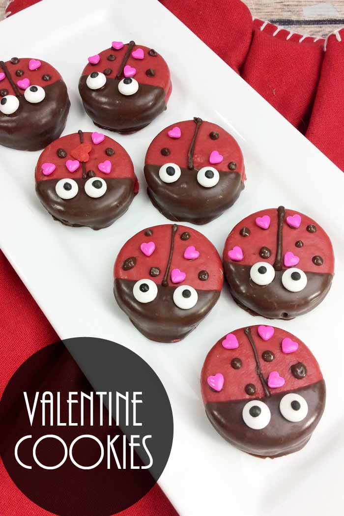 Make these Valentine cookies for someone you love! Cute covered Oreos that look like lady bugs! So simple and no baking required!