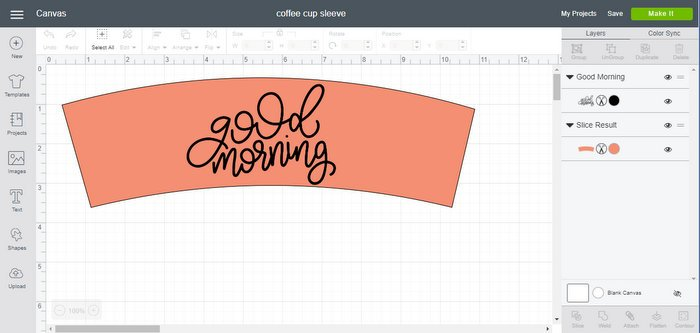 cricut design space with coffee sleeve