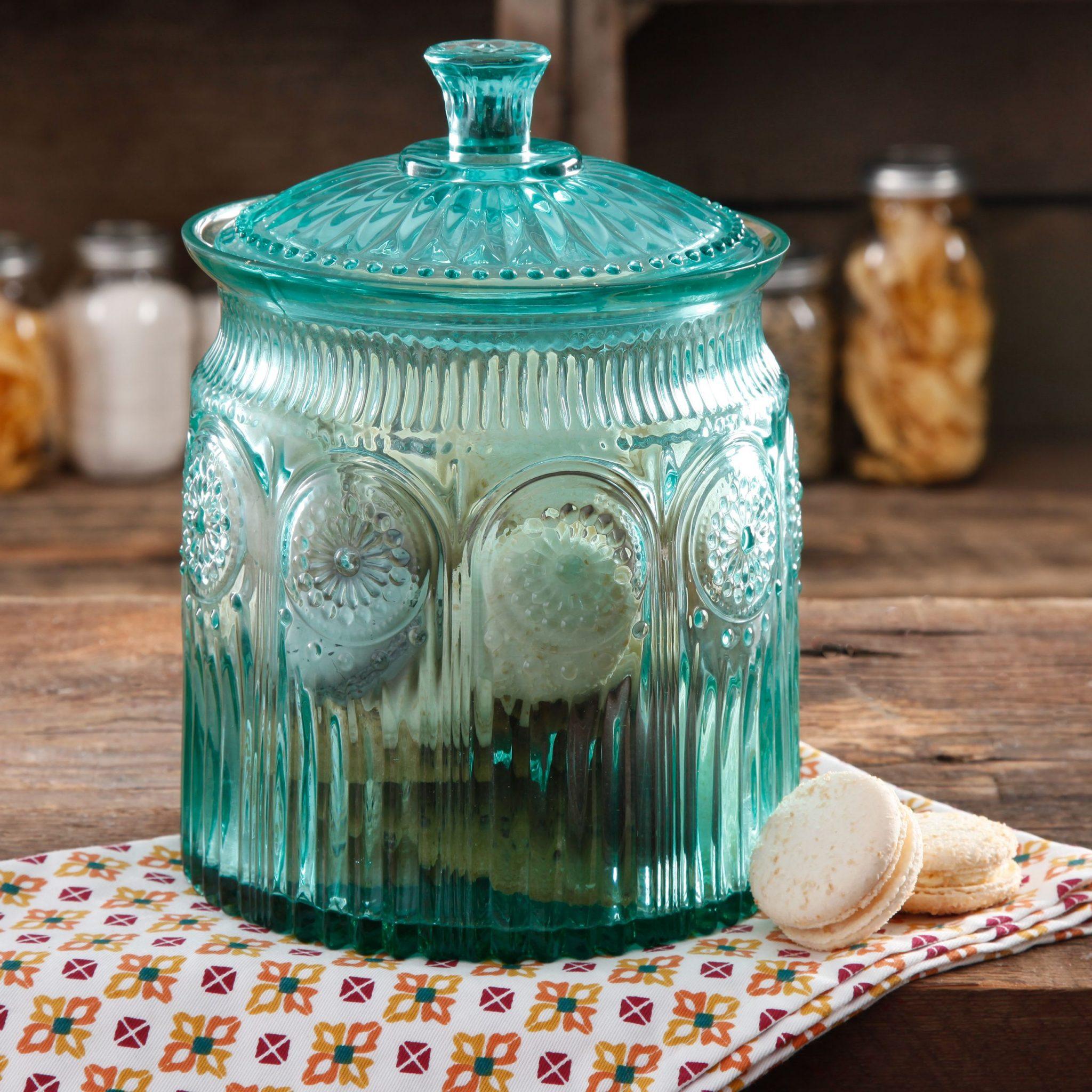 aqua glass canister