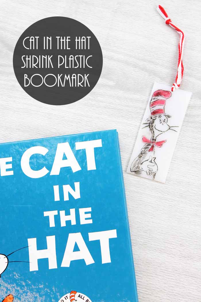 Looking for Cat in the Hat activities? Make this Dr. Seuss shrink plastic bookmark in minutes!