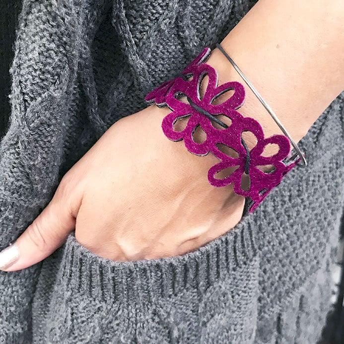 felt floral bracelet