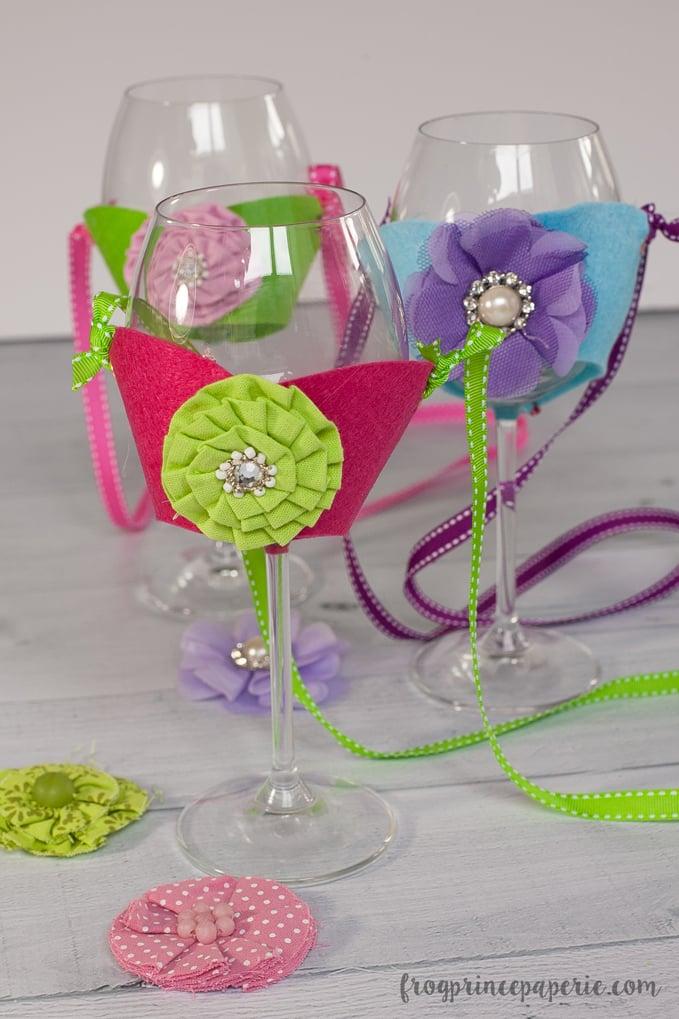 felt flowers on wine glasses