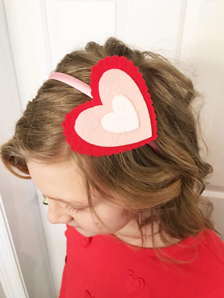 felt heart on a headband