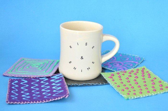felt coasters with a mug