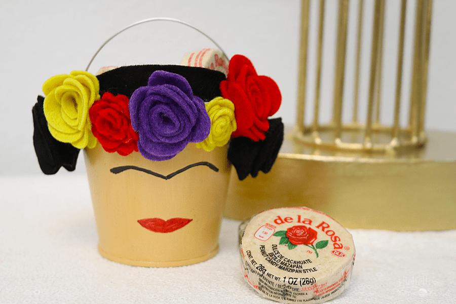 felt flowers on a bucket