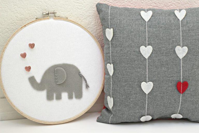 felt pillow with felt hoop art