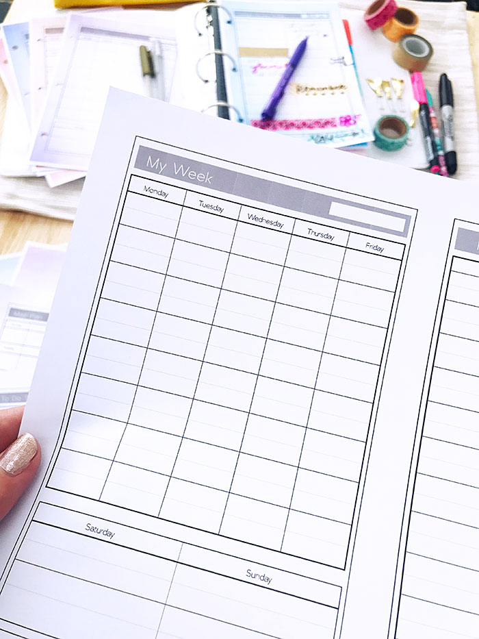 Printable planner pages for your mini planner
