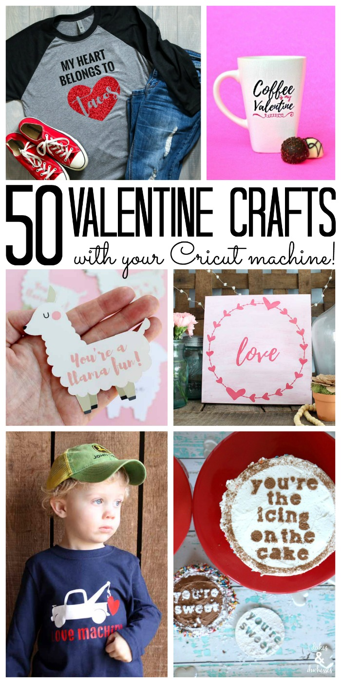These DIY Valentines can all be made with your Cricut machine! Get the step by step instructions for each of the over 50 ideas here! #cricut #cricutmade #valentinesday #valentines