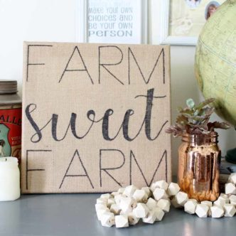 Farmhouse Sign from Burlap:  Easy To Make with Template