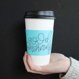 Coffee Sleeves:  Customize with Your Cricut