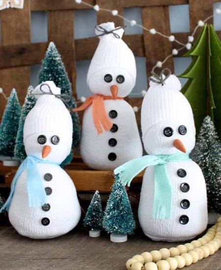 sock snowman on a mantel