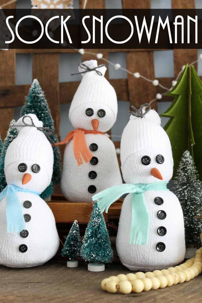 sock snowman pin image