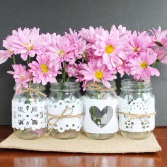 Wedding Mason Jars:  Made with Cut Felt