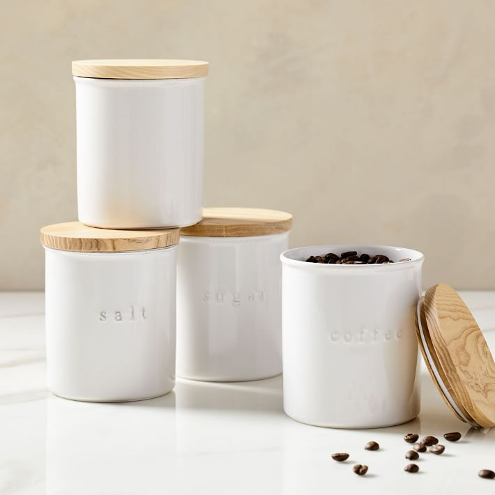 white ceramic canisters