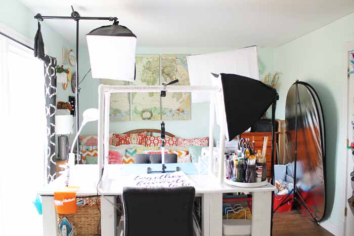 craft room with lights for filming