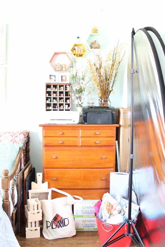 dresser with drawers in a craft room