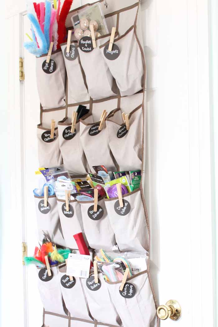 over the door shoe organizer with craft supplies