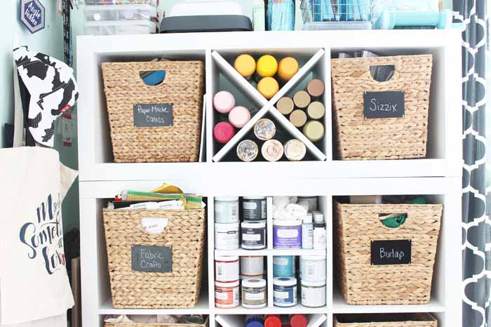 storing spray paint on shelves