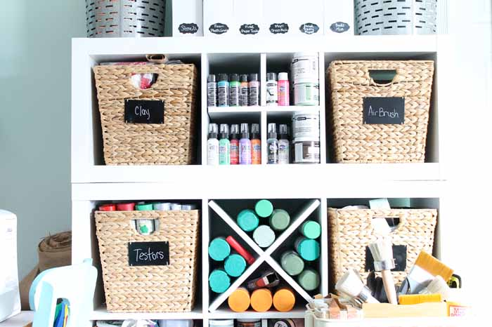shelves with baskets for storage