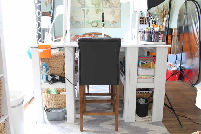 chair in front of a craft table