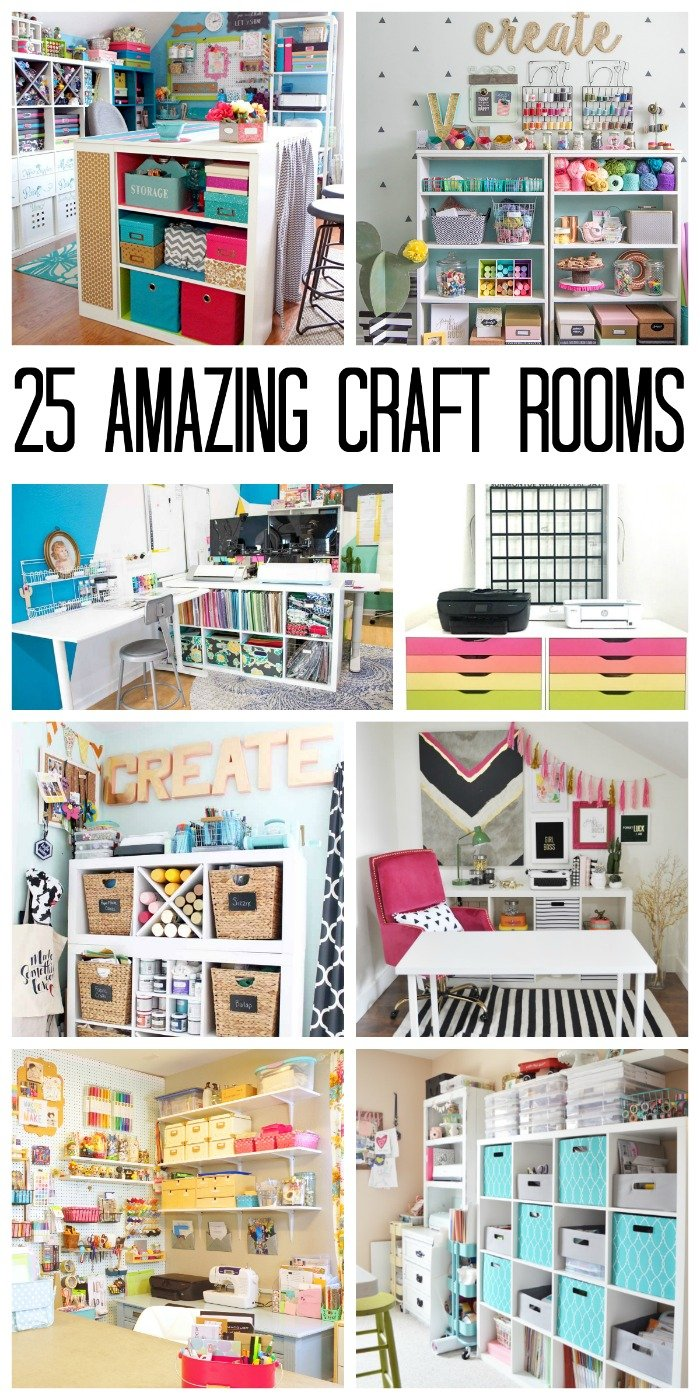 Get inspired by 25 craft rooms that are simply gorgeous! From organization ideas to decor, these craft room ideas make getting creative easy.