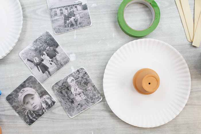 photo coasters on a table