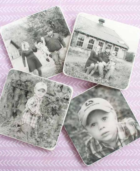 diy photo coasters on a table