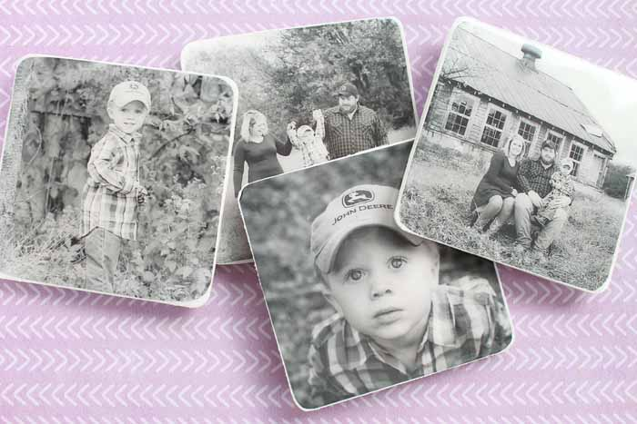 coasters with black and white photos